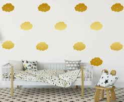 smiley gold cloud wall stickers set of