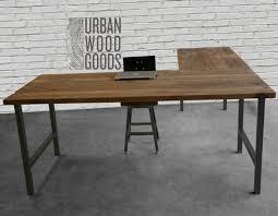 Office desks wood Shaped Reclaimed Wood Office Furniture Modern Wood Deskcustom Shaped Desk With Reclaimed Wood Top And Indiana Furniture Reclaimed Wood Office Furniture Modern Wood Deskcustom Shaped