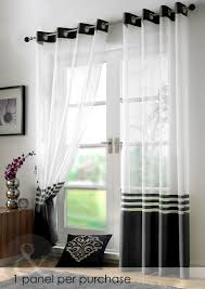 Glorious Black And White White Curtains For Double Swing Entry Door  Treatments Also Black Portray Frame Over Wooden Dresser Decors In White  Living Room ...