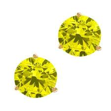 get ations 2 20 ct round canary si1 si2 diamond 18k yellow gold stud earrings