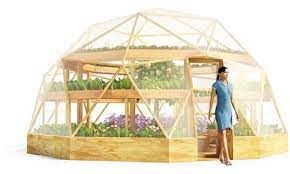 geodesic dome greenhouse inside