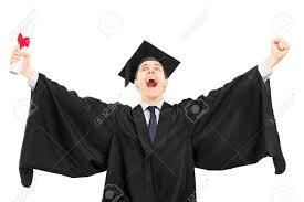 Обрадованный выпускника колледжа имеющие диплом и жесты счастье  Обрадованный выпускника колледжа имеющие диплом и жесты счастье на белом фоне Фото со стока