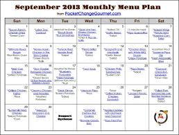 printable monthly menu planner weekly menu plan september 23 pocket change gourmet