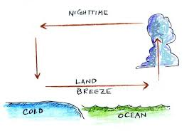 land and sea breeze worksheet. the thermal circulation pattern has reversed direction. surface winds blow from land out over ocean. this is referred to as a breeze. and sea breeze worksheet