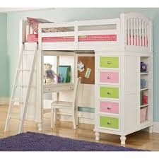 cool white teenage girls loft bed design with amazing bunk study desk colorful drawer unit and closet underneath 30 cool kids bedroom space saving ideas