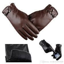 2019 mens pu leather gloves soft thick fleece lining five fingers warm gloves car motorbike driving biking outdoor gloves from swallow2016520