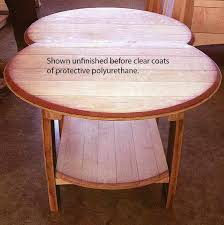 amish wine barrel head recycled quarter sawn white oak coffee table with shelf hardwood