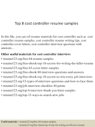 top8costcontrollerresumesamples 150424214427 conversion gate01 thumbnail 4 jpg cb 1429929912