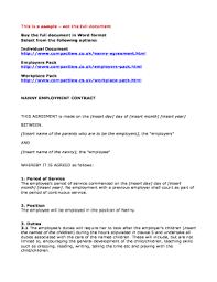 29 Printable Nanny Client Sample Contract Forms And