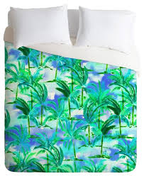 amy sia palm tree blue green duvet cover king tropical duvet covers and duvet sets by deny designs