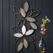 wiscombe flowers wall art mirror glass golden steel metal stained varnished vase glass bottle flowers beautiful