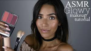asmr glowy makeup tutorial tapping face brushing cream asmr glow
