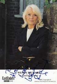 Wendy Richards as Pauline Fowler Eastenders Hand Signed Cast Card Photo:  Very good Signed by Author(s)   Postcard Finder
