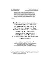 PDF) The use of multivariate analyses of morphological characters and DNA  analyses for assessing the taxonomic ranking of rare plant taxa: an example  comparing populations of Echinomastus erectocentrus var. acunensis with  those