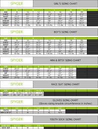 Girls Ski Size Chart Spyder Helmet Size Chart Www Bedowntowndaytona Com