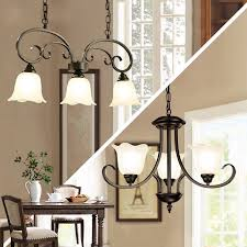 french country 3 lights black metal ceiling pendant light with white glass shade