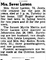 Myrtle Larson Obituary 1951 - Newspapers.com
