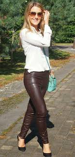 brown leather pants and heels outfit