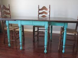 European Paint Finishes Teal Dining Table  Ladderback Chairs - Distressed dining room table and chairs