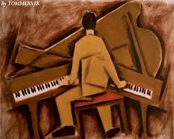 tommervik man playing piano painting oil on canvas 2010