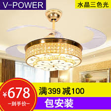 free installation v power restaurant invisible ceiling fan light living room bedroom simple fashion crystal chandelier electric fan light 055 crystal love