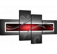 red black grey white modern abstract canvas split 4 set 160cm 4091 on black and white with a splash of red wall art with red canvas pictures prints wall art free delivery