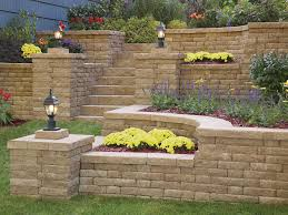 raised terraced highland stone concrete retaining wall planters with inset stone block stairs and built