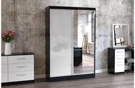 white gloss sliding door wardrobe with mirror birlea