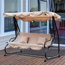 outsunny outdoor swing chair bench garden hammock patio convertible canopy bed 3 seater beige b07cvcmy1n