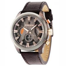 police cyclone 14639jsbzu 61 mens chronograph brown leather watch