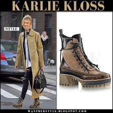louis vuitton desert boots. karlie kloss in camel coat, black jeans frame denim and brown lace-up boots louis vuitton desert 1