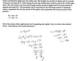 glamorous apples and peaches students are asked to solve a system of systems linear equations substitution