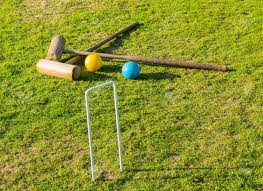 Wooden Hoop Game Two Wooden Mallets Of Croquet Set And Hoop Set Into Green English 30