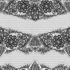 black lace seamless pattern with flowers on white background fabric design vector by lian2016