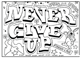 Inspirational Quotes Coloring Pages Color Quote Never Give Up