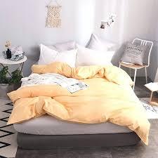 elegant apricot yellow solid color cotton soft duvet cover queen size quilt case covers