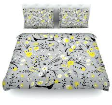 blackbirds on gray yellow duvet cover cotton grey and geometric stripe twin contemporary covers