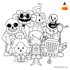 coloring page for kids how to draw undertale characters