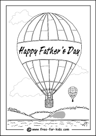 colouring page of a father and child playing football colouring page of a hot air balloon