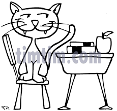 School Chair Drawing A Cartoon Of Cat To Design Decorating