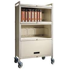Mobile Chart Rack Privacyline Standard Mobile Chart Rack 3 Shelf Narrow Almond With Key Lock
