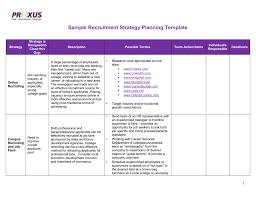Recruiting Plan Template Sample Recruitment Strategy Planning Template