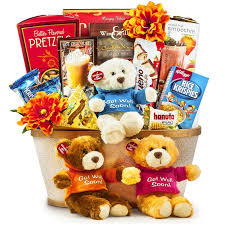 talking get well soon bear children gift basket toronto ontariogourmet gift basket