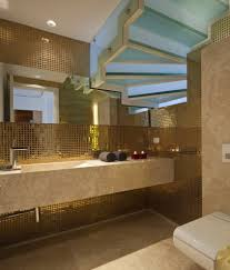 bathroom: Prestigious Nuance At Contemporary Bathroom Using Gold Themed  Mosaic Tile Bathroom Combined With Granite