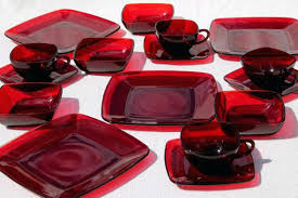 anchor hocking dishes vintage royal ruby red glass charm square plates cups bowls set for 4 anchor hocking dishes vintage glassware