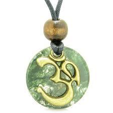 ancient om tibetan amulet magic powers green moss agate coin medallion pendant neckla