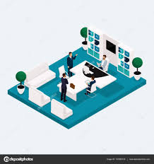 isometric office furniture vector collection. Isometric Meeting Rooms, A Multistoried Office Workers 3D Business Men And Women, Furniture. Vector Illustration. \u2014 By ElizaLIV Furniture Collection
