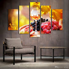 5 panel painting glass wine fruit painting canvas art prints wall pictures for living room kitchen dining room home decoration unframed canvas painting  on wine and dine canvas wall art with 5 panel painting glass wine fruit painting canvas art prints wall