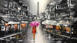 lady with red umbrella walking on the street of paris acryliic painting full version