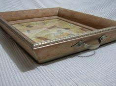 Upcycled picture frame serving tray- just add handles!